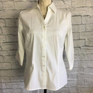 Dress Barn White Pleated Blouse Size S NWT